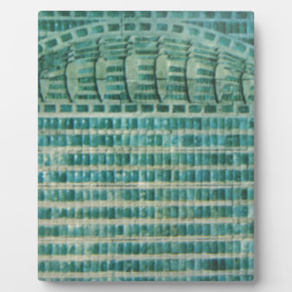 blue teal tiles plaque