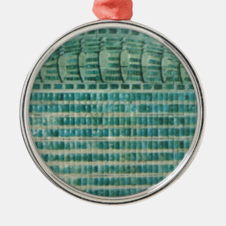 blue teal tiles Silver-Colored round ornament