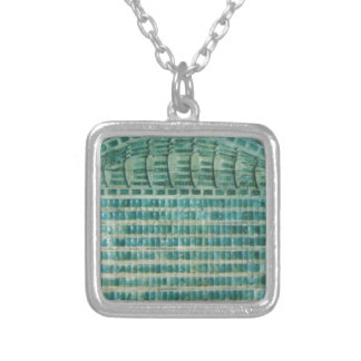 blue teal tiles silver plated necklace