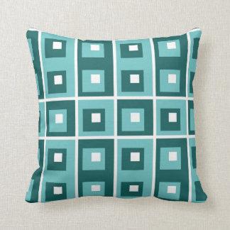 Blue Teal White Geometric Pattern Throw Pillow
