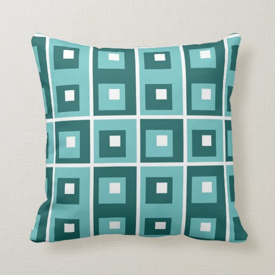 Blue Teal White Geometric Pattern Throw Pillow