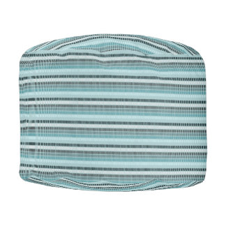Blue, Teal, White Stripes Pouf