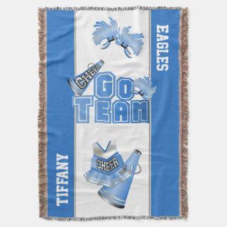 Blue Team Spirit Cheerleader Custom Blanket Throw
