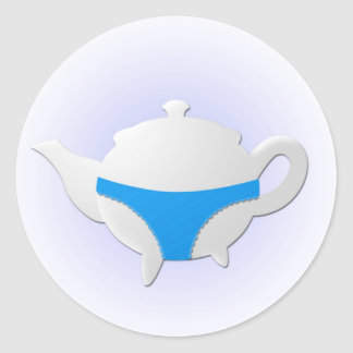 Blue teapot and lingerie classic round sticker