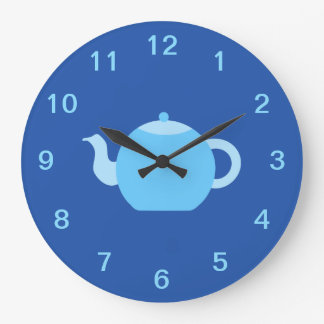 Blue Teapot on Navy Background. Large Clock