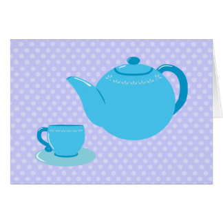 Blue Teapot Tea Party Thank You Cards