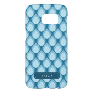 Blue Teardrop Pattern Personalize with Name Samsung Galaxy S7 Case