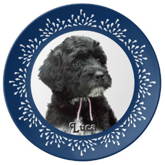 Blue Teardrop Portuguese Water Dog Plate Porcelain Plates