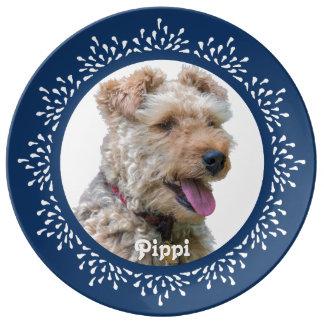Blue Teardrop Welsh Terrier Plate Porcelain Plates