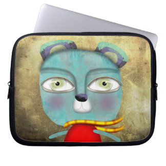 Blue Teddy Bear Neoprene Laptop Sleeve
