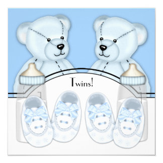 Blue Teddy Bear Twin Boys Baby Shower Card