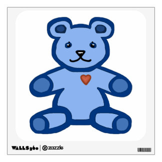 Blue teddy bear with love heart wall sticker