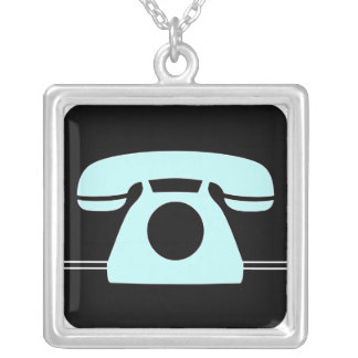 Blue Telephone Silver Plated Necklace