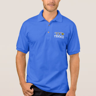 Blue tennis polo with sport logo and custom text