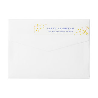 Blue Text and Faux Gold Sparkles | Happy Hanukkah Wrap Around Label
