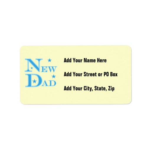 Blue Text New Dad Gifts Address Label