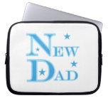 Blue Text New Dad Gifts Laptop Sleeves