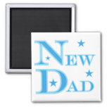 Blue Text New Dad T-shirts and gifts Magnets