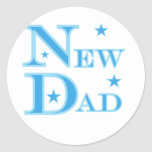 Blue Text New Dad T-shirts and gifts Stickers