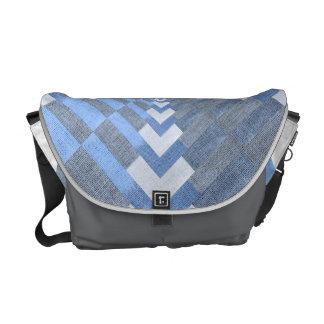 Blue textile jean messenger bag