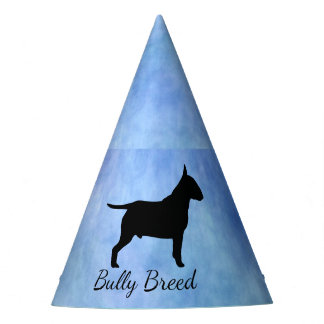 Blue Textured Bullterier Bully Breed Party Hat