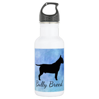 Blue Textured Bullterier Bully Breed Water Bottle