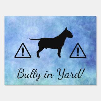 Blue Textured Bullterier Bully Breed Yard Sign
