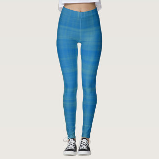 Blue Textured Leggings