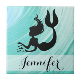 Blue Textured Mermaid Ceramic Photo Tile
