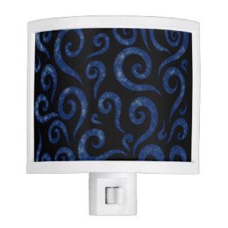 Blue Textured Swirls Night Light