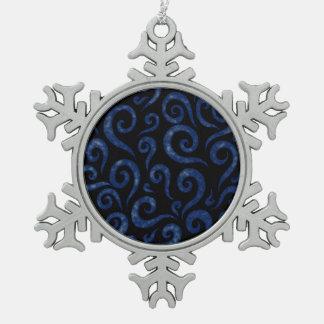 Blue Textured Swirls Snowflake Pewter Christmas Ornament