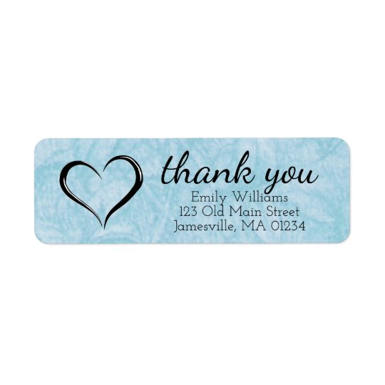 Blue Thank You Return Address Labels with Heart