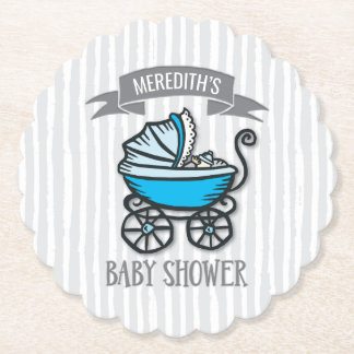 Blue-Themed Baby Shower Paper Coaster