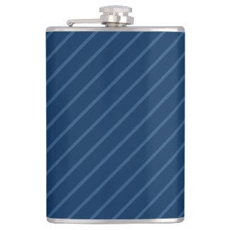 Blue & Thin Light Stripes 8 oz Vinyl Wrapped Flask