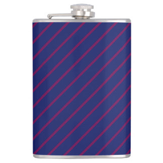 Blue & Thin Purple Stripes 8oz Vinyl Wrapped Flask