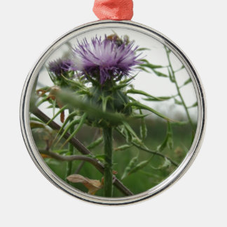 Blue Thistle Silver-Colored Round Ornament