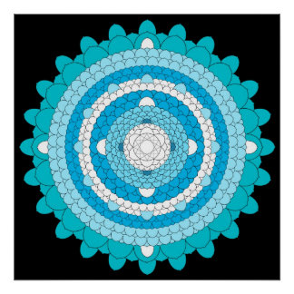 Blue Thousand Petal Lotus Mandala Poster
