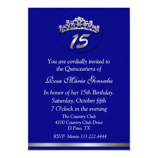 Blue Tiara Quinceañera Invitation