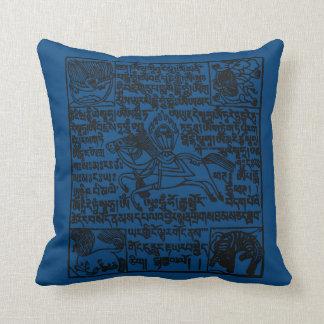 Blue Tibetan Windhorse prayer flag pillow