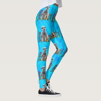 Blue Tie Dye Meerkat And Meerkats Logo, Leggings