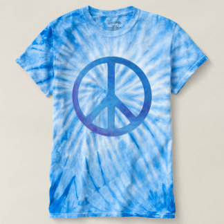Blue Tie Dye Peace Symbol T-shirt