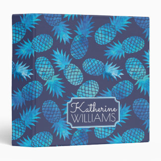 Blue Tie Dye Pineapples | Add Your Name 3 Ring Binder