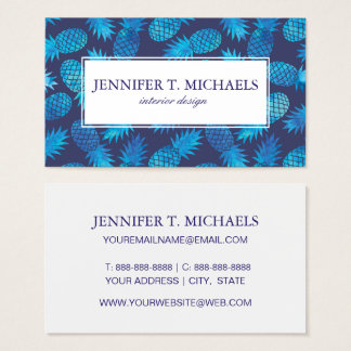 Blue Tie Dye Pineapples   Add Your Name Business Card