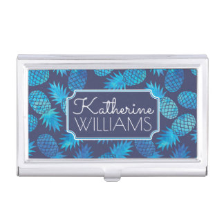 Blue Tie Dye Pineapples | Add Your Name Business Card Holder