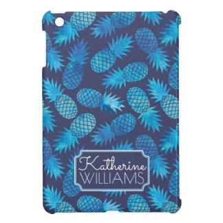 Blue Tie Dye Pineapples   Add Your Name iPad Mini Covers