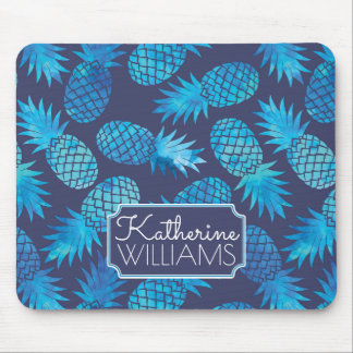 Blue Tie Dye Pineapples   Add Your Name Mouse Pad