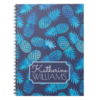 Blue Tie Dye Pineapples | Add Your Name Notebook
