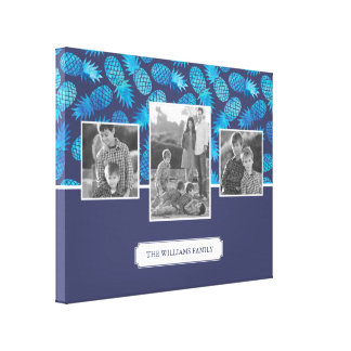 Blue Tie Dye Pineapples   Family Photos with Text Canvas Print