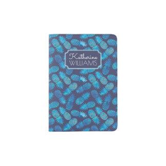 Blue Tie Dye Pineapples Passport Holder