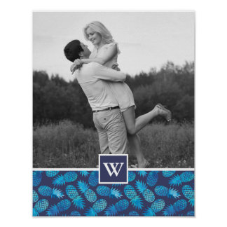 Blue Tie Dye Pineapples   Photo with Monogram Poster